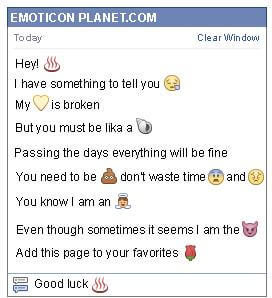Conversation with emoticon Hot Meal for Facebook