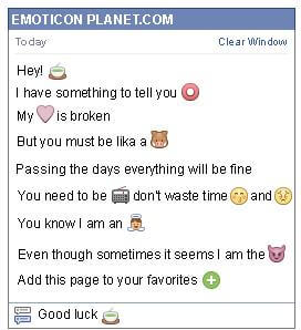 Conversation with emoticon Hot Soup for Facebook