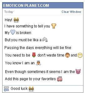 Conversation with emoticon In Construction for Facebook