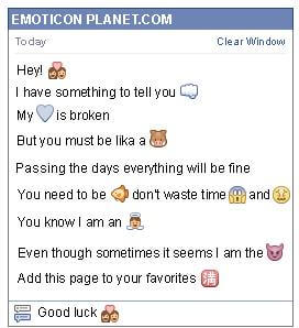 Conversation with emoticon In Love for Facebook