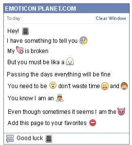 Conversation with emoticon Iphone for Facebook
