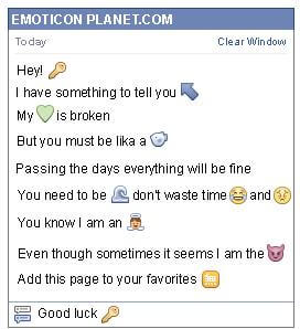 Conversation with emoticon Key for Facebook