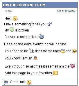 Conversation with emoticon Kiss with a Heart for Facebook