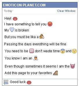 Conversation with emoticon Kiss for Facebook