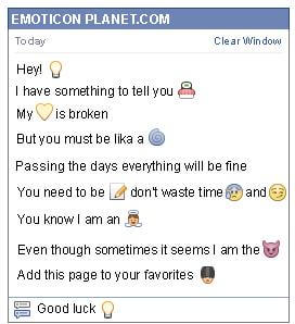 Conversation with emoticon Light Bulb for Facebook