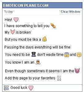 Conversation with emoticon Lilac Heart for Facebook