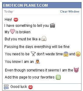 Conversation with emoticon Lips for Facebook