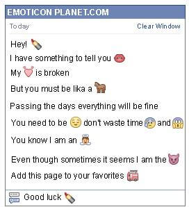 Conversation with emoticon Lipstick for Facebook