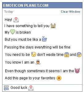 Conversation with emoticon Love Letter for Facebook