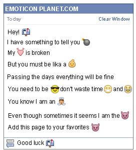 Conversation with emoticon Mailbox with Letters for Facebook