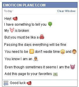 Conversation with emoticon Megaphone for Facebook