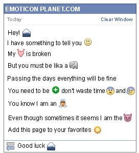 Conversation with emoticon Mountain for Facebook