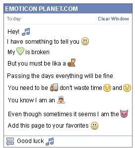 Conversation with emoticon Music for Facebook