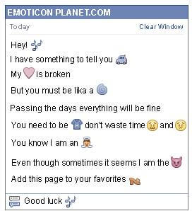 Conversation with emoticon Musical Notes for Facebook