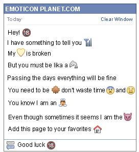 Conversation with emoticon No People Younger than 18 for Facebook
