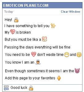 Conversation with emoticon Open Padlock for Facebook