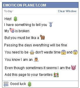 Conversation with emoticon Peso Sign for Facebook
