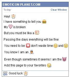 Conversation with emoticon Piece of Cake for Facebook