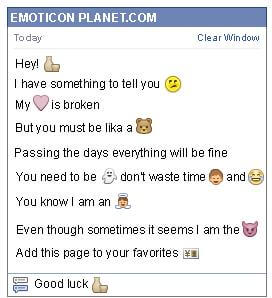 Conversation with emoticon Pitcher and Glass for Facebook