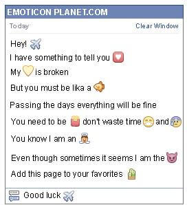 Conversation with emoticon Plane for Facebook
