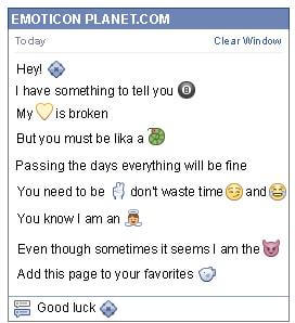 Conversation with emoticon Pointed Diamond for Facebook