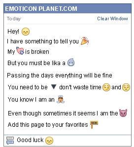 Conversation with emoticon Pout for Facebook