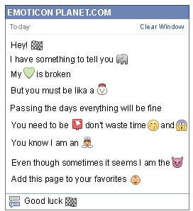 Conversation with emoticon Racing Car Finish Flag for Facebook