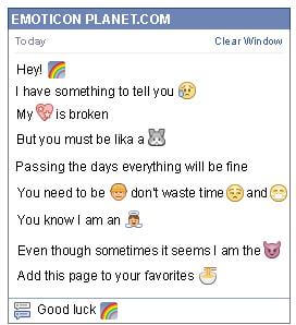Conversation with emoticon Rainbow for Facebook