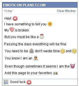 Conversation with emoticon Red Circle for Facebook