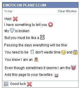 Conversation with emoticon Red X Letter for Facebook