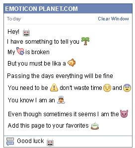 Conversation with emoticon Robot for Facebook