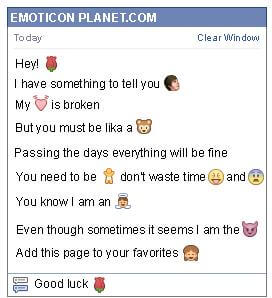 Conversation with emoticon Rose for Facebook