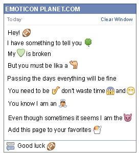 Conversation with emoticon Rugby Ball for Facebook