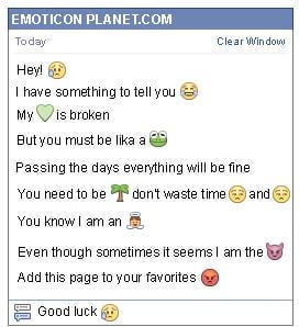 Conversation with emoticon Sadness for Facebook