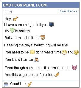 Conversation with emoticon Saxophone for Facebook