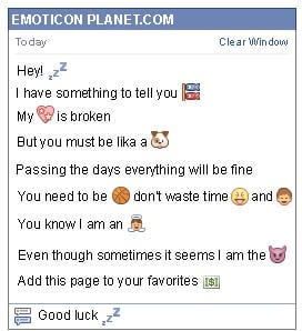 Conversation with emoticon Sleep for Facebook