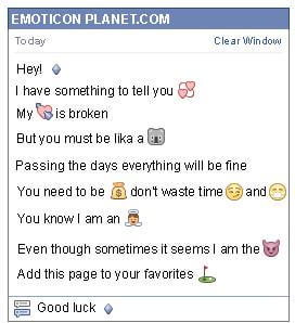 Conversation with emoticon Small Blue Rhombus for Facebook