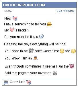 Conversation with emoticon Smitten Heart for Facebook