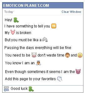 Conversation with emoticon Snake for Facebook