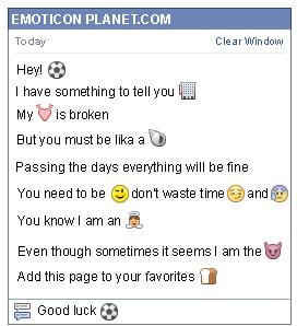 Conversation with emoticon Soccer Ball for Facebook