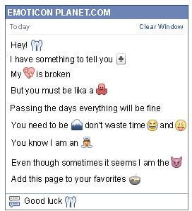 Conversation with emoticon Sorry for Facebook
