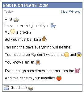 Conversation with emoticon Soup for Facebook