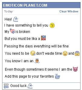 Conversation with emoticon Strong Arm for Facebook