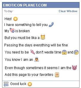 Conversation with emoticon Sun for Facebook