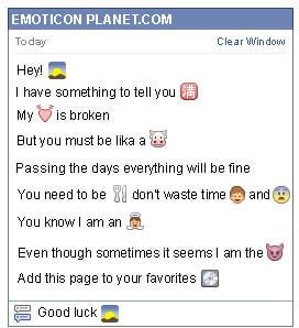 Conversation with emoticon Sunrise in the Mountain for Facebook