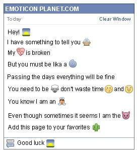Conversation with emoticon Sunset in the Countryside for Facebook