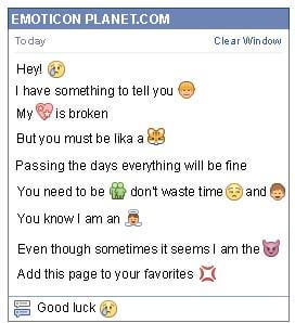 Conversation with emoticon Tenderness for Facebook