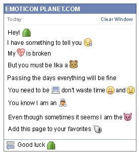 Conversation with emoticon Tent for Facebook