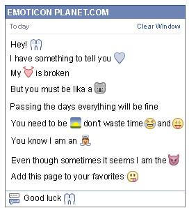 Conversation with emoticon Thank You for Facebook