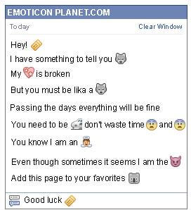 Conversation with emoticon Ticket for Facebook